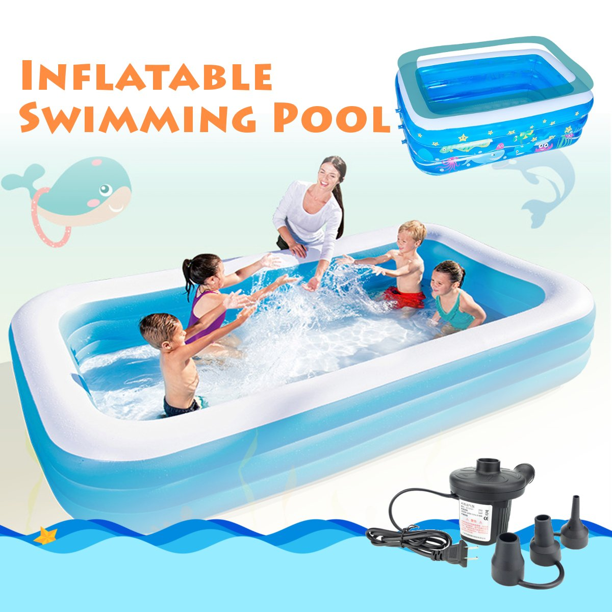 Inflatable Swimming Pool Family Childrens Kids Baby Large Water Rectangular Fun Inflatable Pool Large Water Play Center
