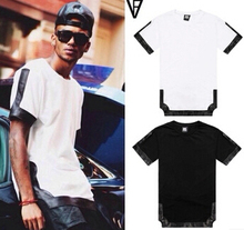Exclusive sale ! New 2014 summer men's fashion t shirts PU faux leather patchwork hip hop short sleeve casual pyrex tops tee