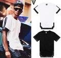 Venta exclusiva! nuevos 2014 hombres del verano de camisetas de moda PU faux leather patchwork hip hop pyrex informal de manga corta para tops tee
