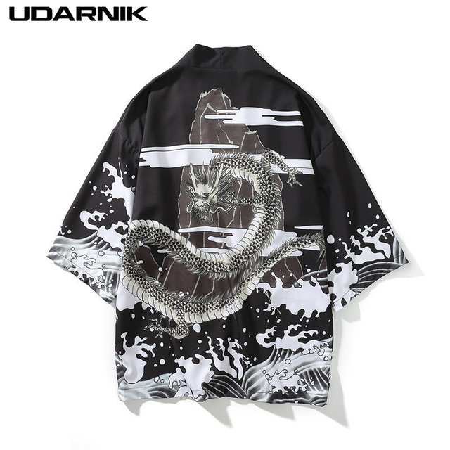 Men Summer Black Kimono Jacket Thin Japan Style 3/4 Sleeve Animal Print Sunscreen Coat Vintage Open Stitch Outwear New 809-433