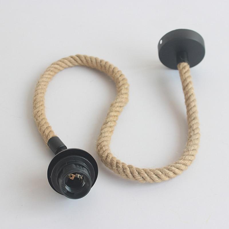 Retro hemp rope pendant E27 lamp holder coffee restaurant shop bedroom Hanging line light