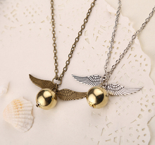 Vintage Fashion Movies Jewelry Deathly Hallows Snitch Wing Gold Ball Charms Necklaces & Pendants collares For Men and Women N318