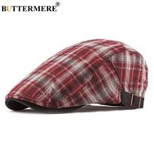 BUTTERMERE Red Flat Cap For Men Plaid Spring Summer Beret Hat Male British Style Cotton 2019 New Brand Retro Adjustable