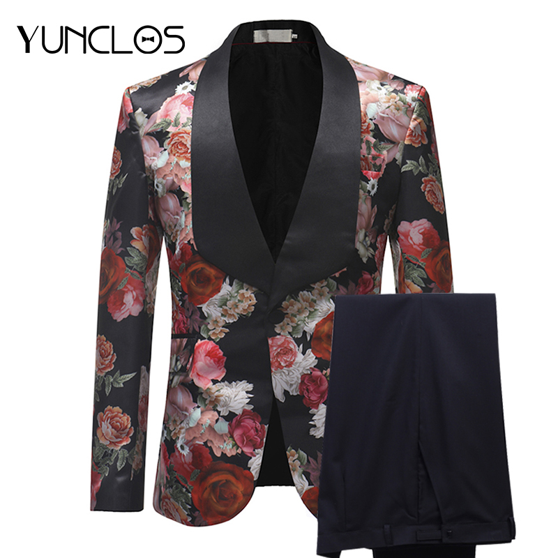 YUNCLOS Terno Masculino New Arrival 2019 Men Suits Burgundy Floral Printed 2 Pieces Set Tuxedo Groomsman Wedding Suits