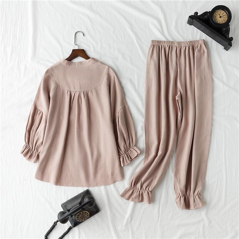Image 4 - Daeyard 100% Cotton Pajama Sets Women Vintage Long Sleeve Shirts and Trousers 2Pcs Soft Pyjamas Sleepwear Cute Pullovers Suit-in Pajama Sets from Underwear & Sleepwears
