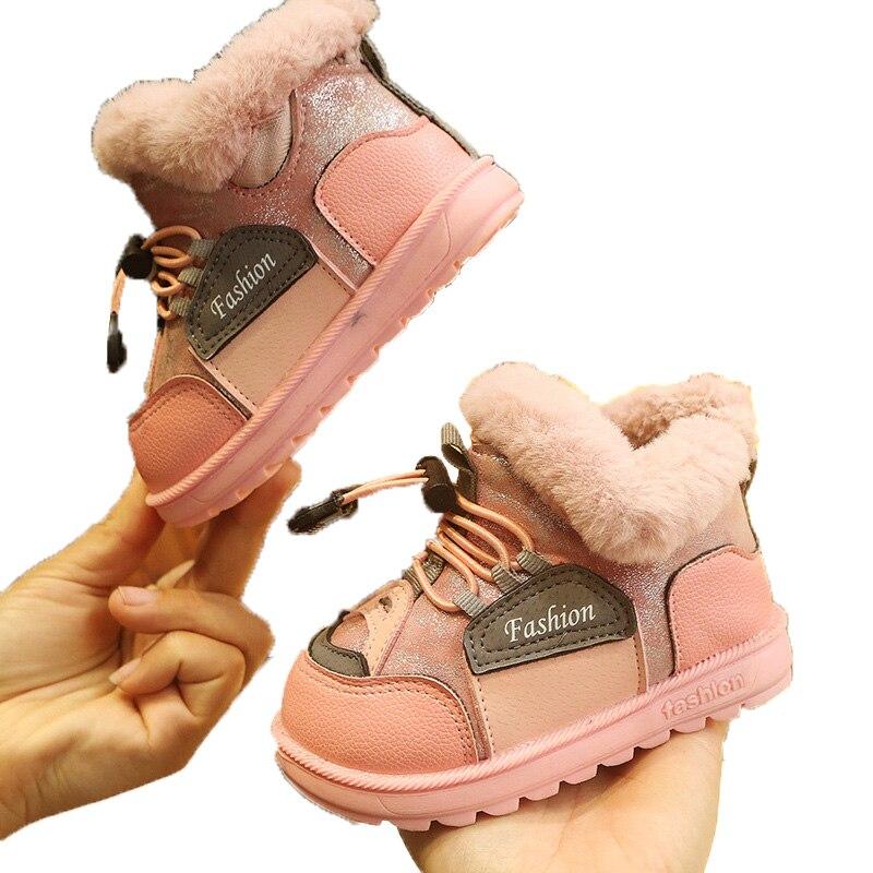 Little Kids Boots Autumn Winter New Fashion Color Patch Matching Girls Snow Boots Warm Cotton Plush Shoes ботинки для девочки