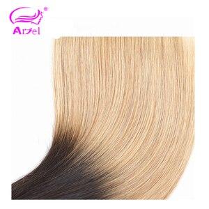 Image 5 - ARIEL Saç Ombre 1b/27 4*4 Üst Dantel Kapatma Ücretsiz/Orta/Üç Bölüm İsviçre Dantel brezilyalı Remy % 100% Insan Saçı Düz Kapatma