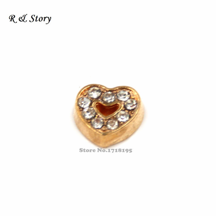 Gold Heart Floating Charms for Memory Lockets 9 Rhinestones LFC_1473