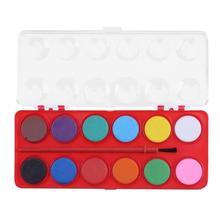 Дешевые 12 Цветов одноцветное акварельные краски кисть Набор пигменты живопись щетка для детей DIY Книги по искусству Живопись Рисунок инструментов