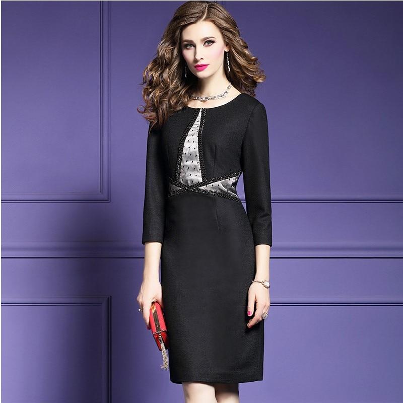 ... office lady shirt pencil dress 2018 new luxury autumn Wool women  Clothing patchwork Plus Size 3xl ... 864dfba71027