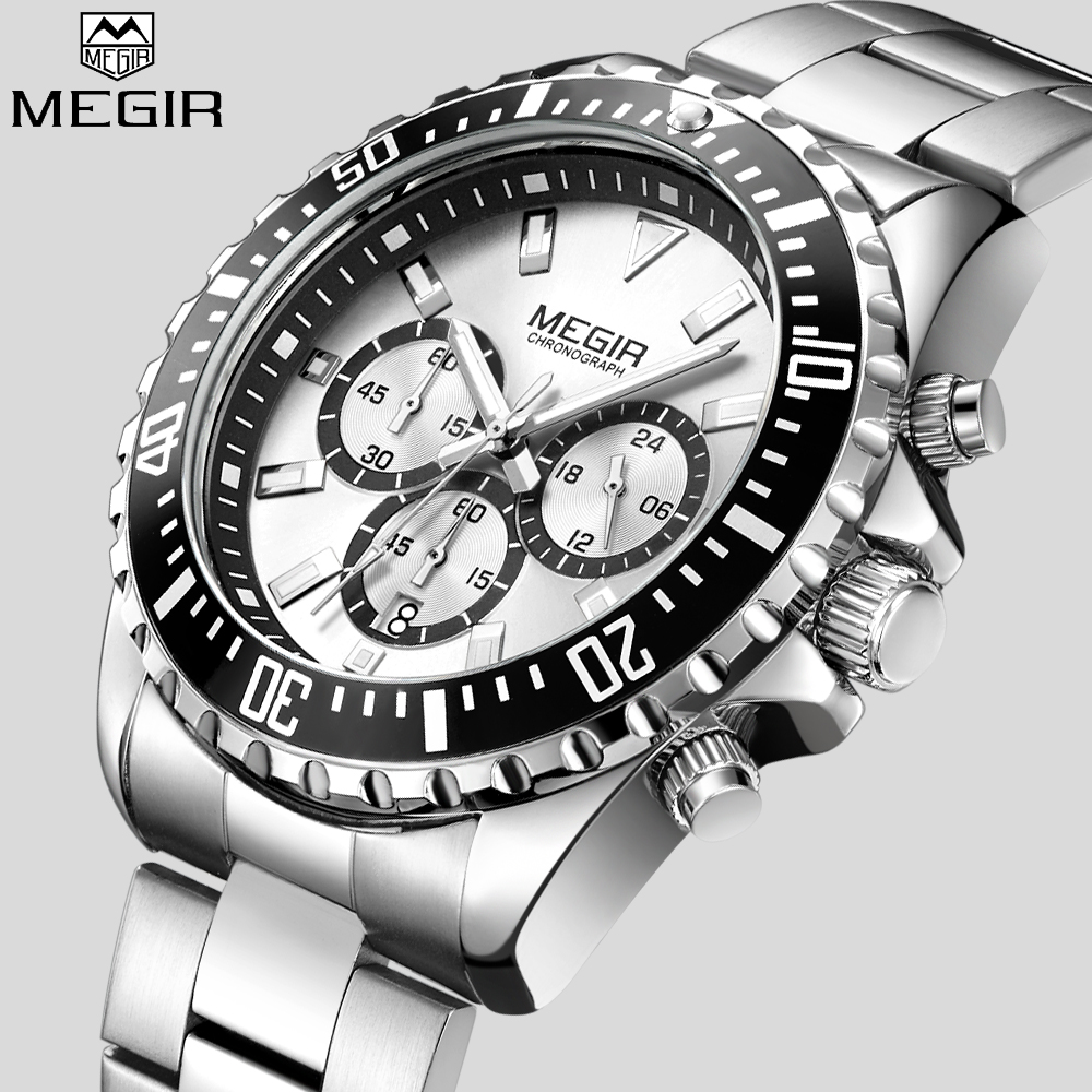 MEGIR Luxury Business Quartz Watch Men Brand Stainless Steel Chronograph Army Military Wrist Watch Relogio Masculino Clock Male