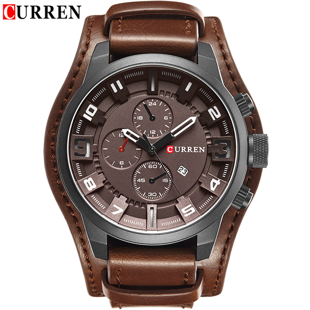 CURREN 2019 New Men Fashion Quartz Watches Men's Army Leather Sports Wrist Watch Military Date Male Clock Relogio Masculino 5