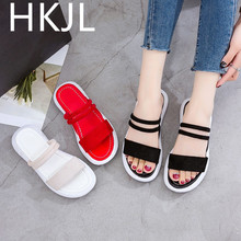 HKJL Two wear slippers female summer fashion 2019 new Korean version of wild sponge cake with beach shoes A732