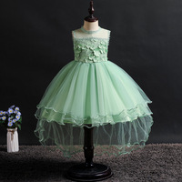 Navy Blue Flower Girl Dress Tulle Trailer Puffy Wedding Party Dress First Communion Dress Princess Lace Evening Dress 6 Colors