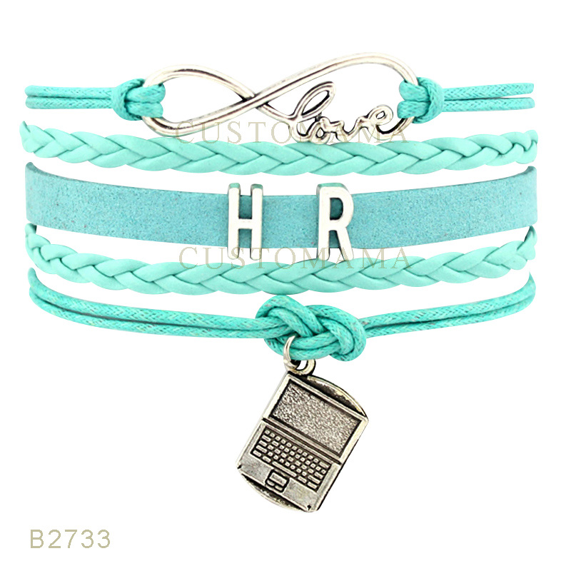 (10 PCS/Lot) Infinity Love HR Laptop Charms Bracelets For Women Jewelry Best Gifts Turquoises Red Suede Leather Wrap Bracelet