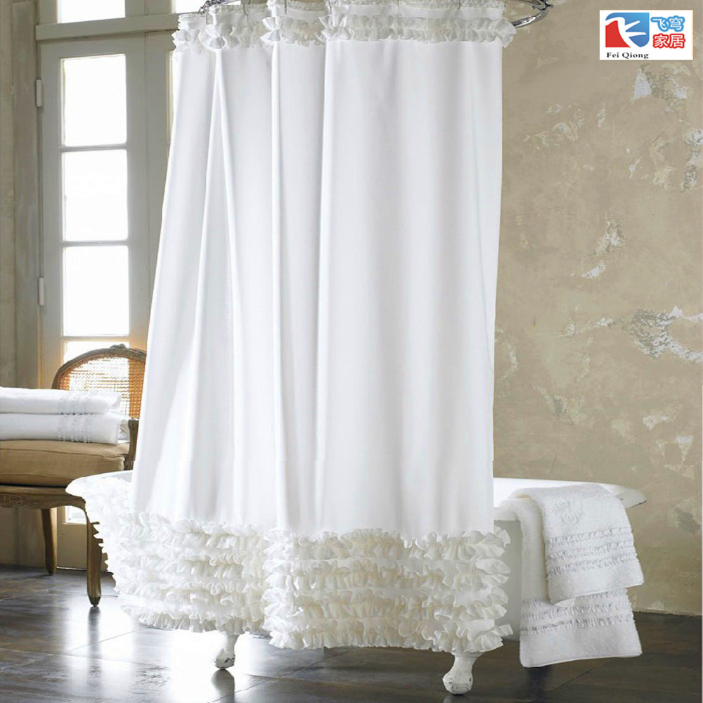 home decoration bathroom shower curtain Waterproof moldproof solid polyester fabric lace curtain with hook elegant White cortina