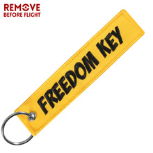 Motorcycle Car keychain Freedom key tag Embroidery yellow key chain key holder OEM key ring for Aviation Gifts Jewelry llavero
