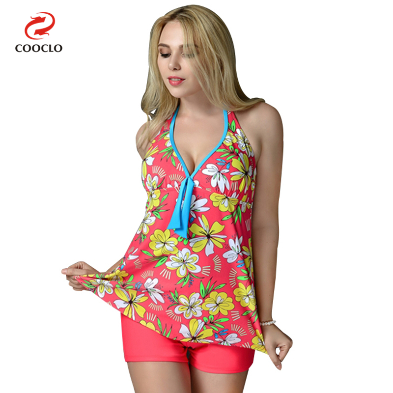 plus size swimwear print women beachwear two pieces tankini russia large cup