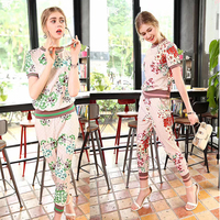 LG Europe Fashion Women S Two Piece Clothing Set 2017 Summer New Short Sleeve Print Top
