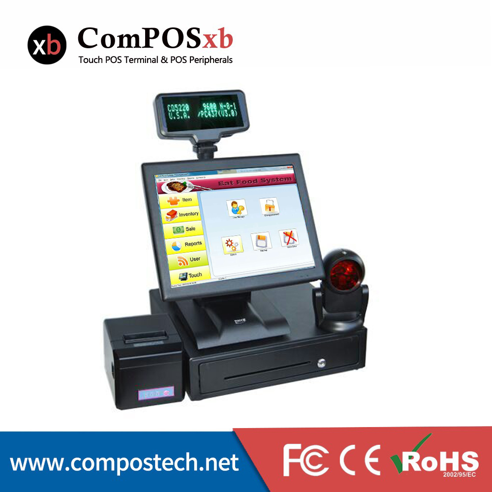 15 inch TFT LED Whole Set POS Terminal POS System EPOS All in one Cash Register With Auto Cutter Printer For Sale POS2119 whole set windows pos machine 15 touch screen all in one pos system cash register cashier pos with vfd 1d omni barcode scanner
