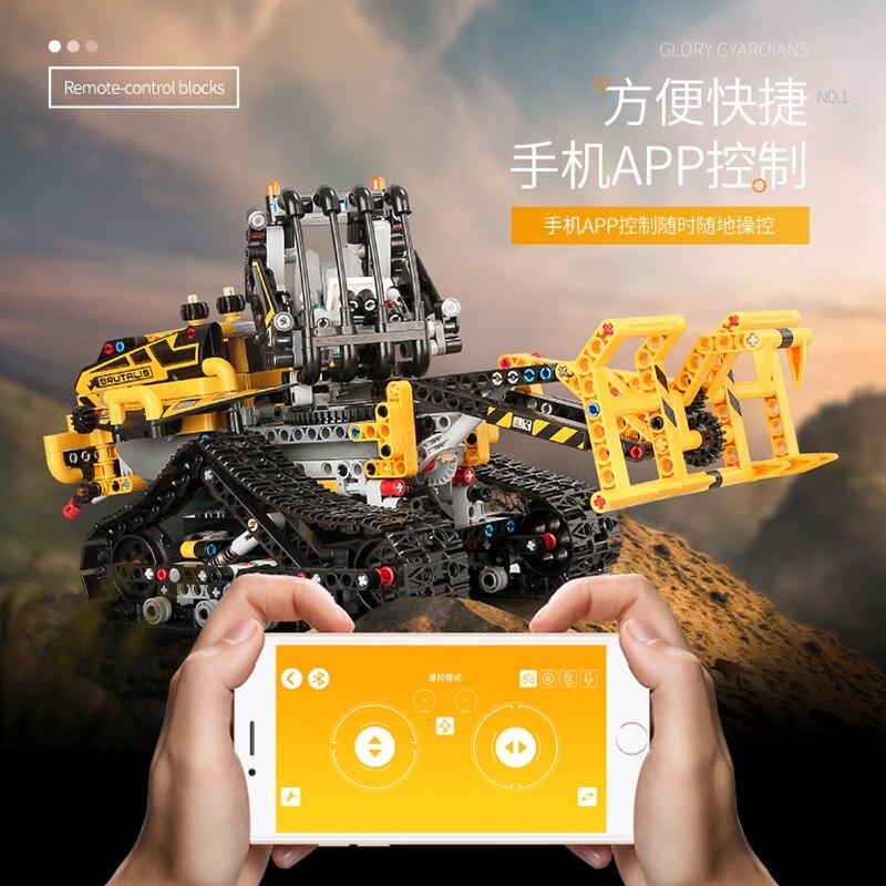 Jeu télécommandé technique voiture RC modèle d'ingénierie intelligente technologie électriacl blocs de construction assembler des briques enfants jouets