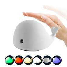 New Cute Dolphin USB Rechargeable Children Night Light Baby whale Multicolor LED Light silicone Pat lamp Touch Dolphin Light