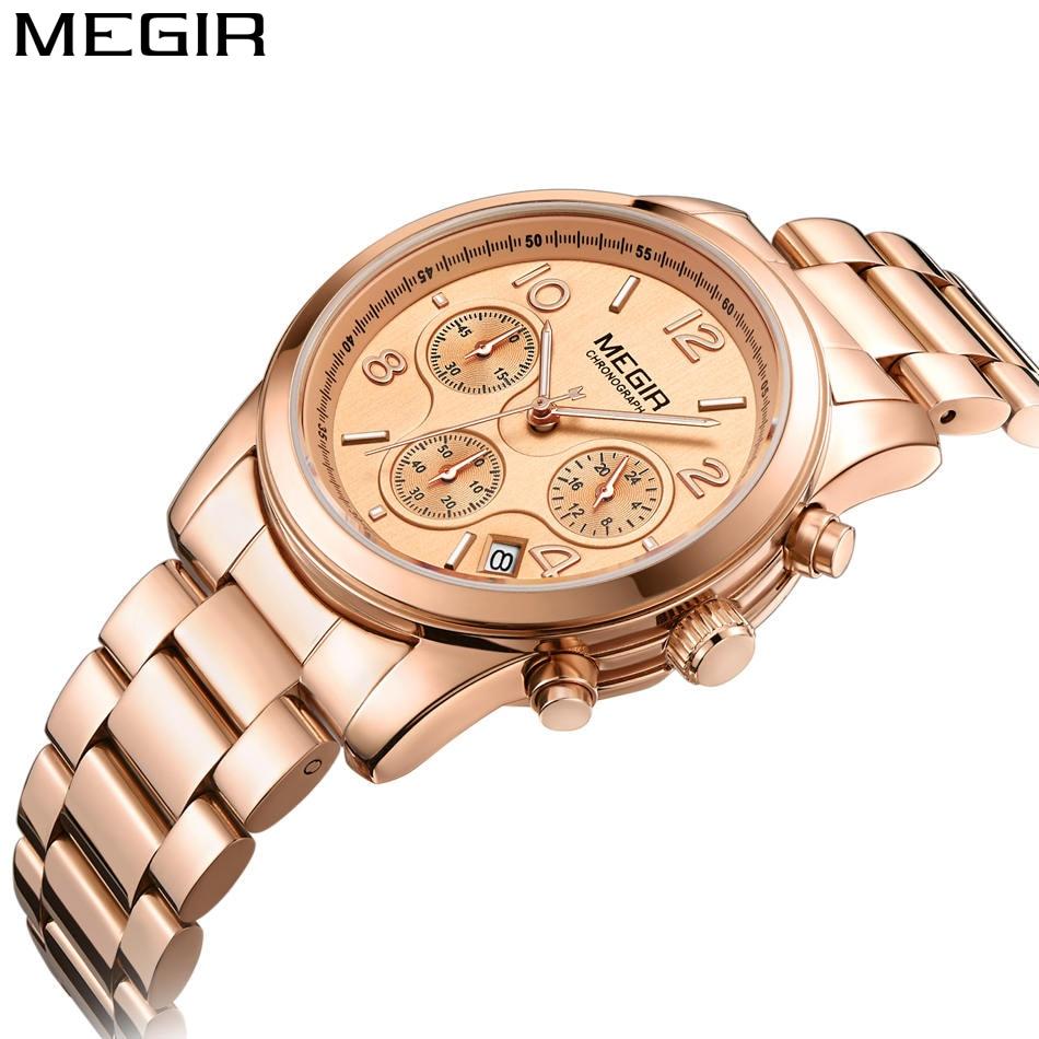 Tops Luxury Brand MEGIR Women Casual Quartz Sport Watch Chronograph Stainless Steel Female Original Waterproof Wrist Watches