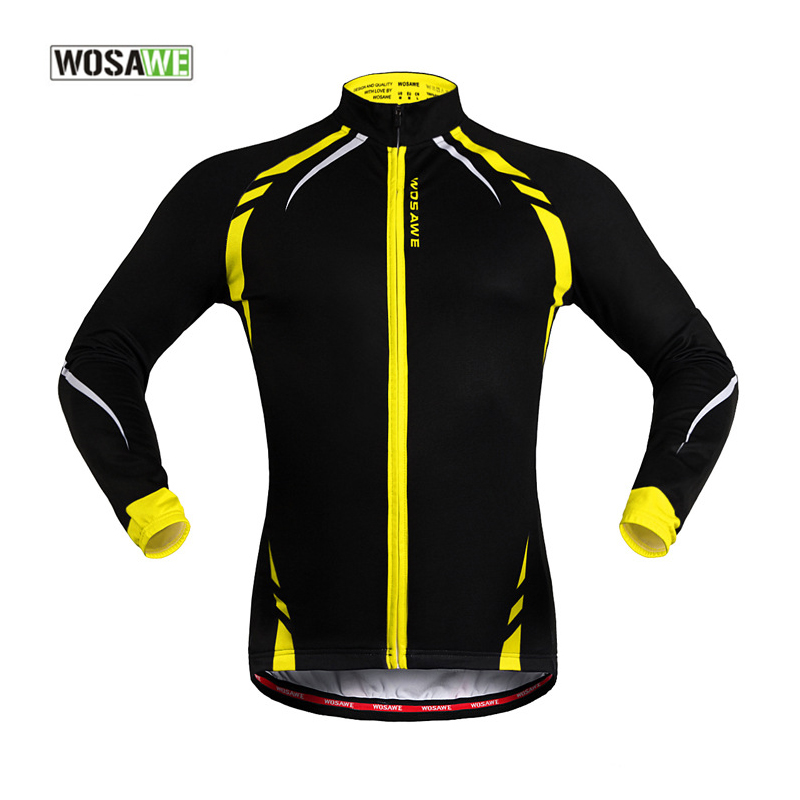 WOSAWE Men Thermal Fleece Long Sleeve Cycling Jackets Mtb Downhill Maillot Ciclismo Cycling Windproof Jacket Mountain Bike wosawe outdoor sports windproof winter long sleeve cycling jacket unisex fleece thermal mtb riding bike jersey men s coat