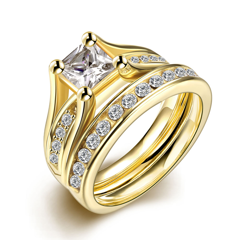 2 pcs set zircon 316l stainless steel double rings for women gold plated crystal female engagement wedding bridal finger rings - Where To Sell Wedding Ring