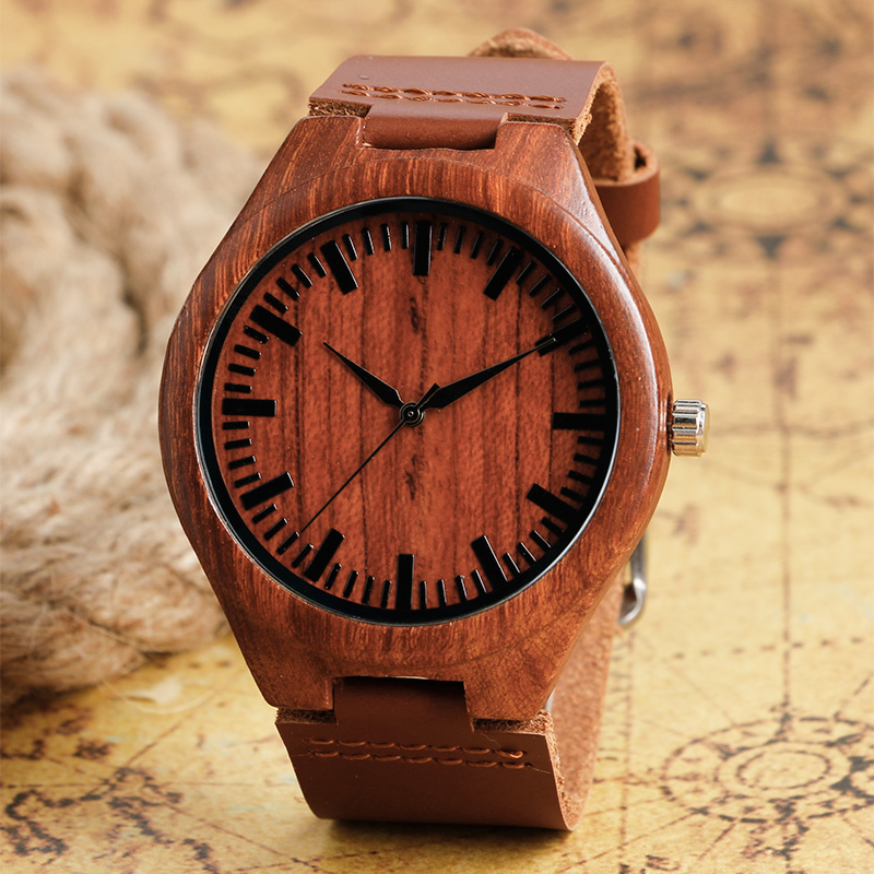 Classical Red Maple Wood Watch with Dark Brown Genuine Leater Band Light Hand-made Wooden Wristwatches for Men Women ultra luxury 2 3 5 modes german motor watch winder white color wooden black pu leater inside automatic watch winder