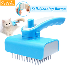 Petshy Pet Shedding Hair Grooming Brush Comb Dog Cat Plastic Handle Stainless Steel Needle Stick Cleaning Slicker