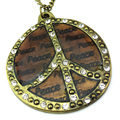 European Retro Bronze Rhinestone Letter Print Peace Sign Symbol Pendant Necklace Sweater Long Chain Necklaces Jewelry