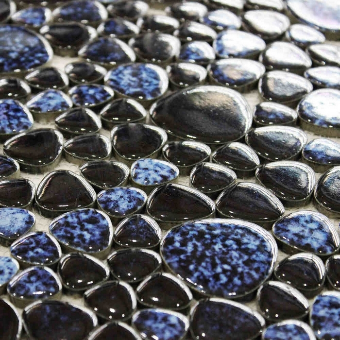 Black Mixed Blue Color Ceramic Pebble Mosaic Tiles For Bathroom Shower  Kitchen Backsplash Hallway Swimming Pool Floor Mosaic