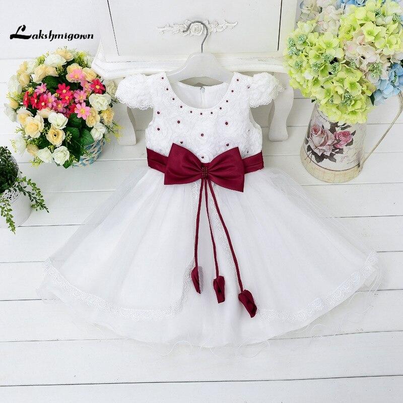 2016 Girls Pageant Dresses  Pearl Knee Length Bow Little Baby Flower Girl Dresses For Weddings junior bridesmaid dresses