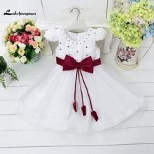 2016 Girls Pageant Dresses Pearl Knee Length Bow Little Baby Flower Girl Dresses For Weddings junior