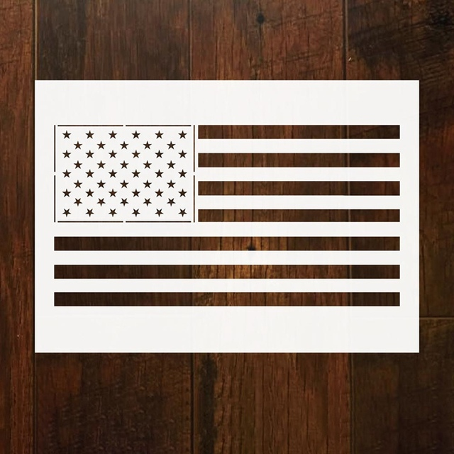 d3f46d4857d6 50 Stars DIY American Flag For Kids Stencil For Painting Craft Ruler  Stationery Supply