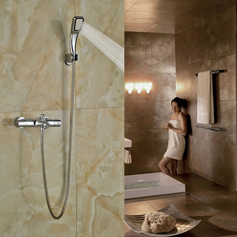 Thermostatic Shower Set Brass Chrome Finish Shower Set Double Handles With Handheld china sanitary ware chrome wall mount thermostatic water tap water saver thermostatic shower faucet