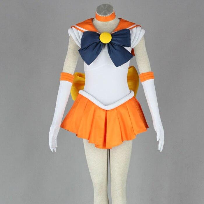 Japonais Anime femmes marin lune Costume Minako Aino Orange déguisements jeu de rôle Minako Aino Costumes avec collier et gants