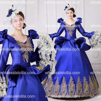 2017 Royal Embroidery Vampire Queen Masquerade Ball Gown Marie Antoinette Southern Belle Dress Theatrical Clothing