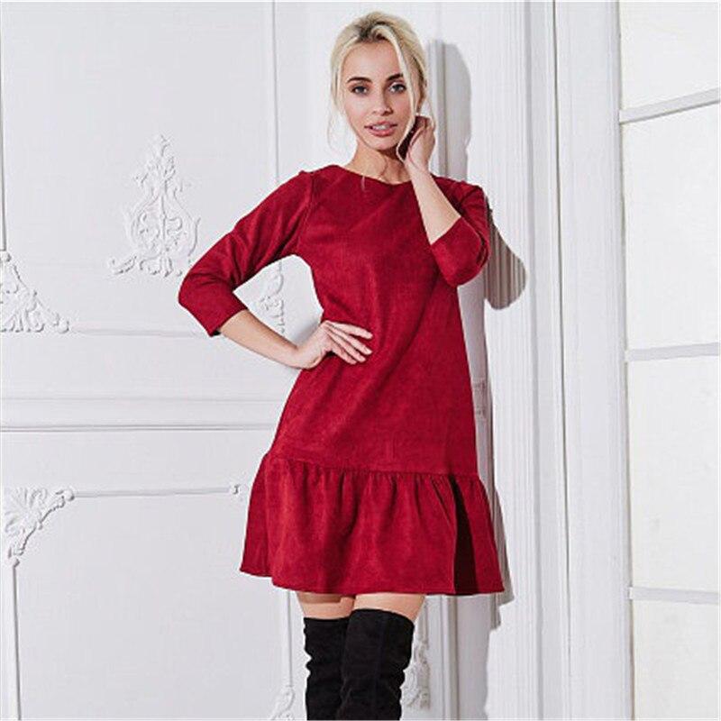Fall 2018 Women Suede Casual Three Quarter Sleeve T Shirt Mini Dress Autumn Winter Fashion Vintage
