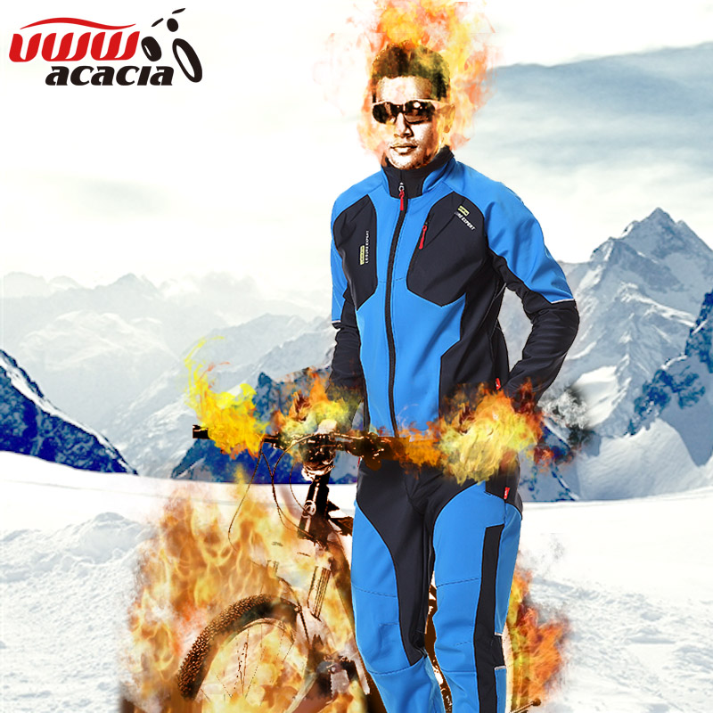 ACACIA Winter Warmly Mens Cycling Jersey Sets With Long Sleeve Pants Riding Sets Waterproof Bicycle Sportswear Clothing 081234