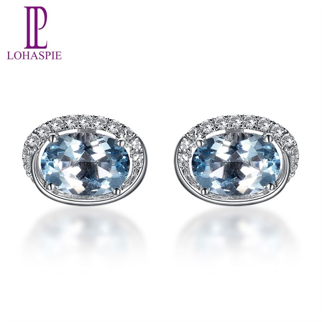 Lohaspie Stone Jewelry 1.48ct Natural Gemstone Aquamarine and Diamonds Solid 18k 750 White Gold Stud Earrings For Mother's Gift