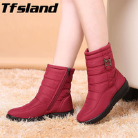 Tfsland 2018 Women Winter Snow Boots Antiskid Mother Shoes New Waterproof Flexible Zippers Walking Shoes Sneakers