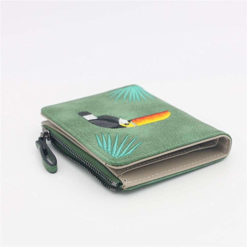 Женский кошелек с вышивкой птицы Portefeuille Femme на молнии, короткий кошелек, кожаный держатель для карт, зеленый, синий, розовый, черный, женские кошельки
