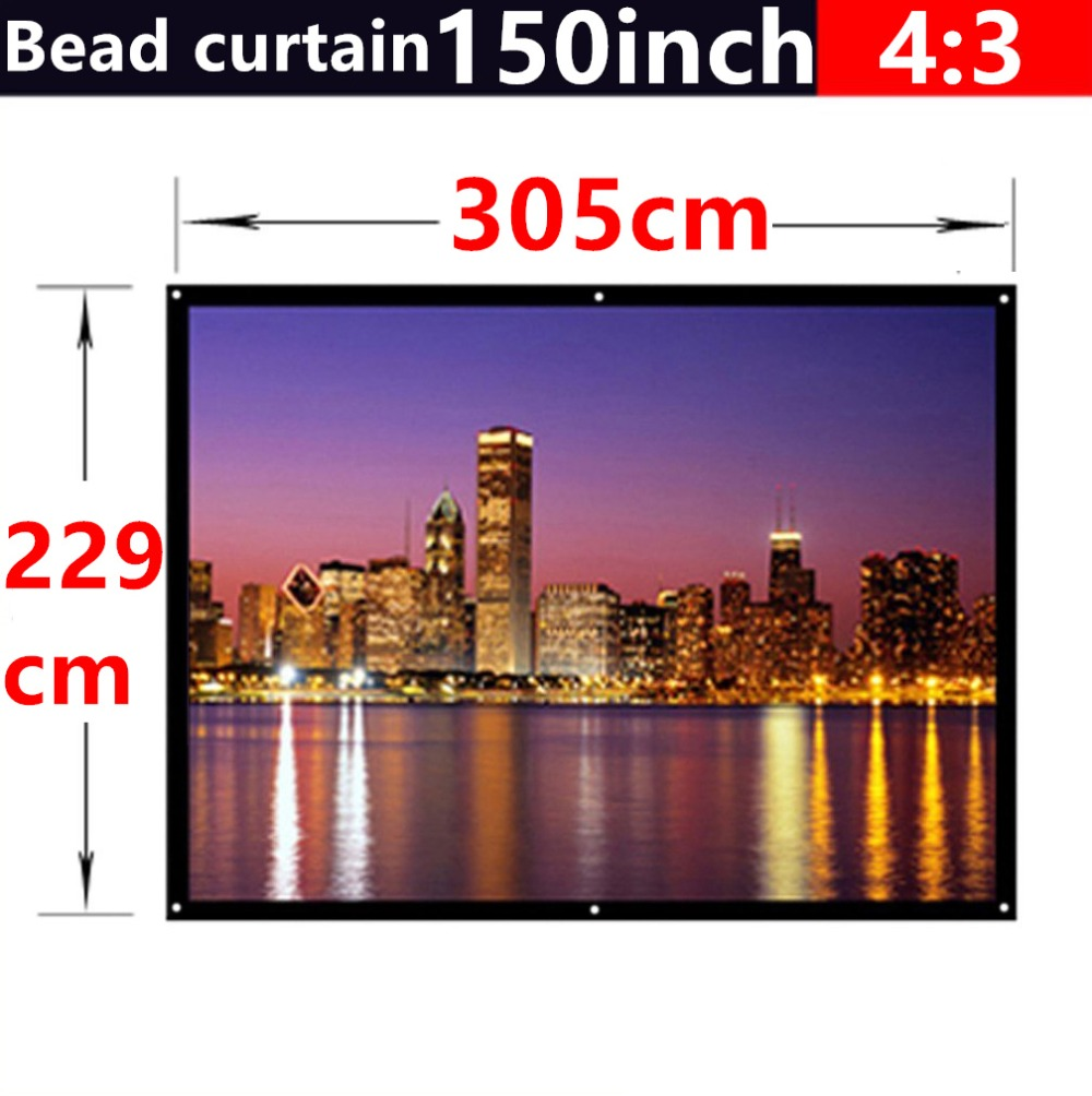 150 inch 4:3 bead curtain fabric matte with 2.8 gain projection screen...