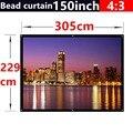 150 Polegada 4:3 Talão cortina de Tecido Fosco Com Ganho de 2.8 Fixado Na Parede da tela de projeção Branco Fosco para todos de Baixa luminosidade projetores