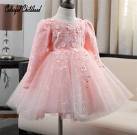 Elegant Girl Dress Girls 2017 Fall Fashion Pink Lace Big Bow Party Tulle Flower Princess Wedding