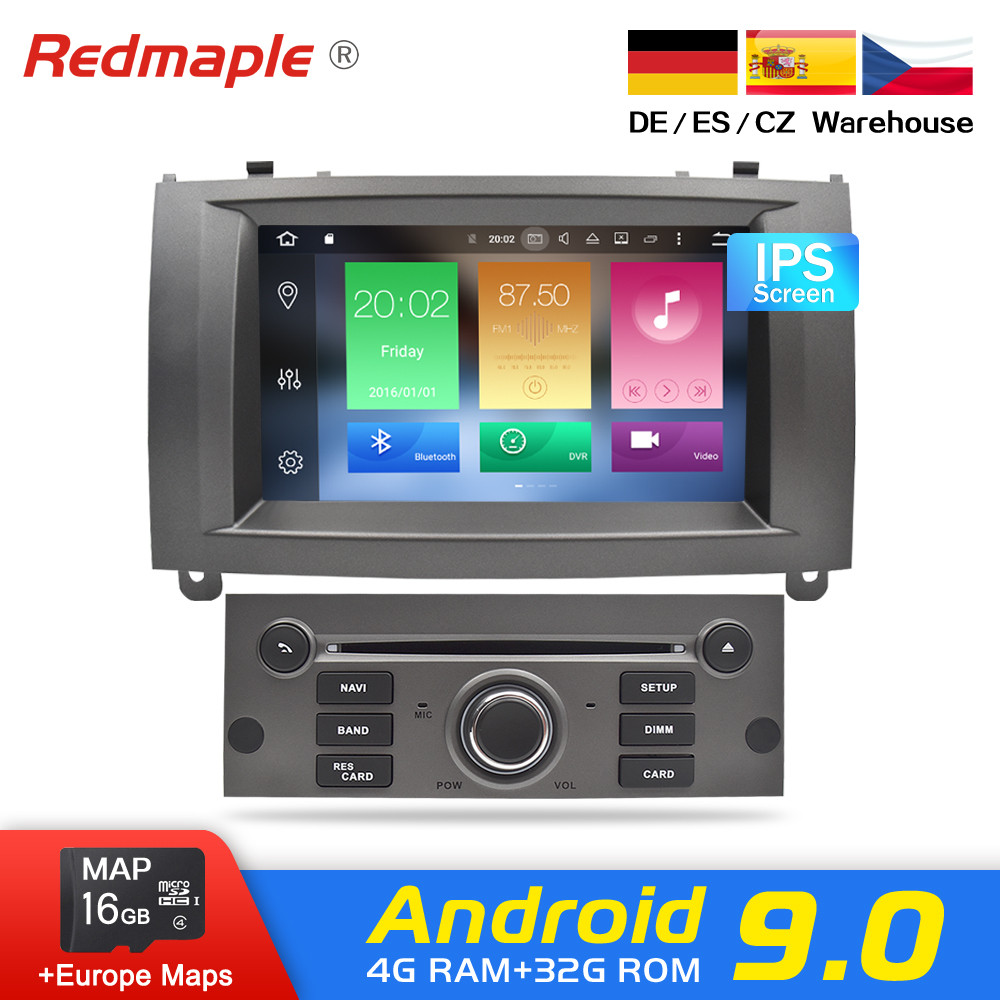 "7 ""Android 9.0 Auto Radio-Player Multimedia Stereo Für Peugeot 407 2004-2010 Auto Audio DVD Video GPS WIFI BLuetooth Navigation"