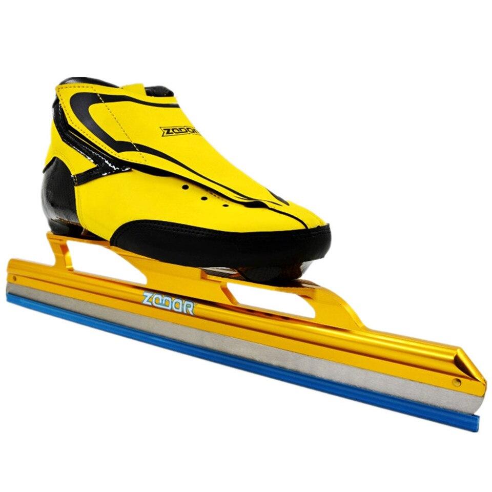 Japy 6 couches en Fiber de carbone vitesse lame de glace chaussures de patinage en métal fixer emplacement couteau course Skate confortable Patines baskets J005