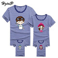 HziriP 2017 Fashion Stripe Short-sleeve T-shirt Family Matching Outfits Summer Style Mother and Daughter Father and Son Clothes
